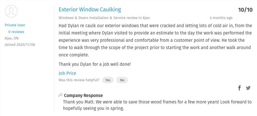 home window caulking service near me Pickering